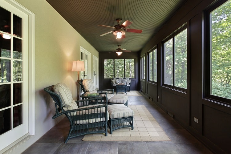 Dark Wood Paneling Veranda Screened In Porch
