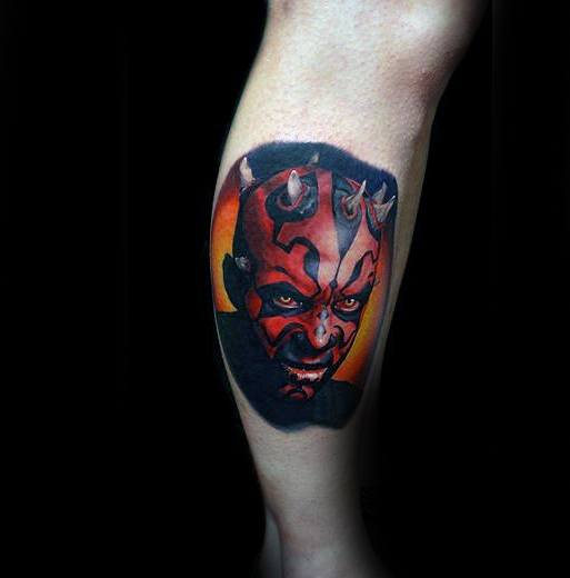 Darth Maul Guys Tattoo Designs Side Of Leg