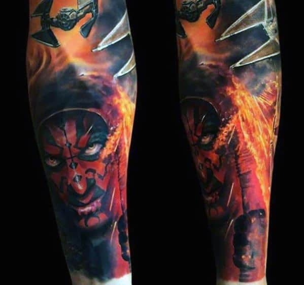 Darth Maul Tattoo Design On Man Full Arm Sleeve