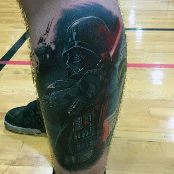 Darth Vader And Light Saber Tatto Male Legs