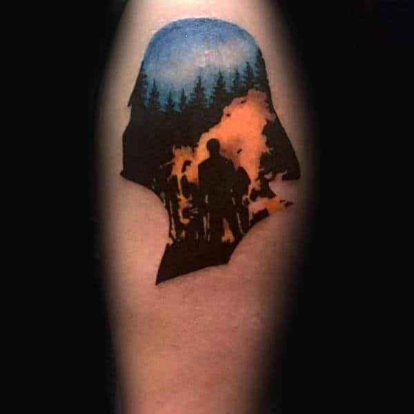 Darth Vader Forest Fire Creative Mens Upper Arm Tattoos
