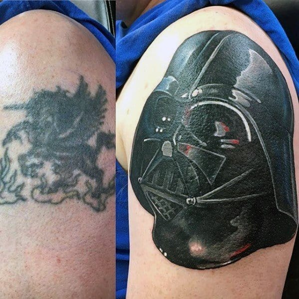 Darth Vader Head Cover Up Mens Upper Arm Tattoos