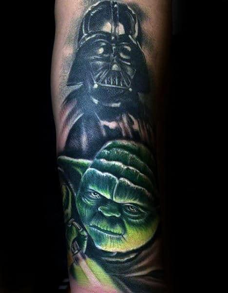 Darth Vader With Yoda Male Forearm Tattoo Ideas
