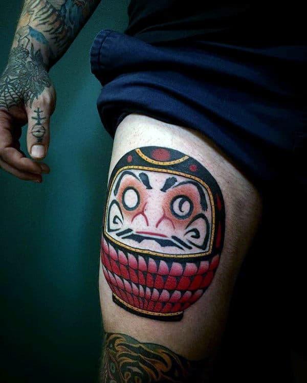 Daruma Doll Male Thigh Tattoos