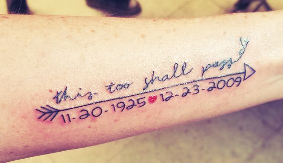 Date This Too Shall Pass Tattoo