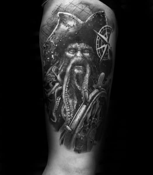 Davy Jones Guys Tattoo Designs Half Sleeve