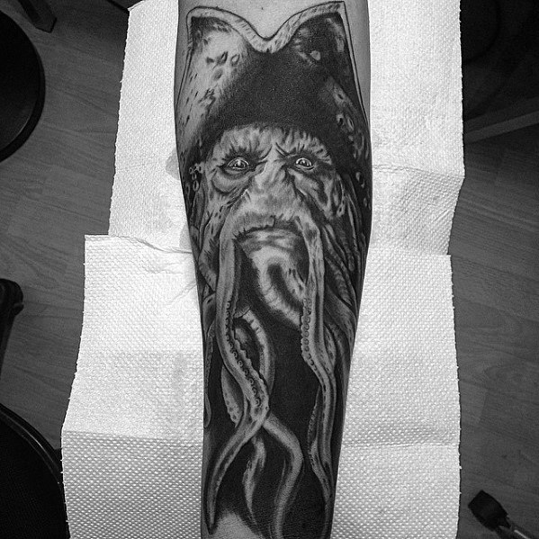 Davy Jones Tattoo Design On Man Leg Sleeve