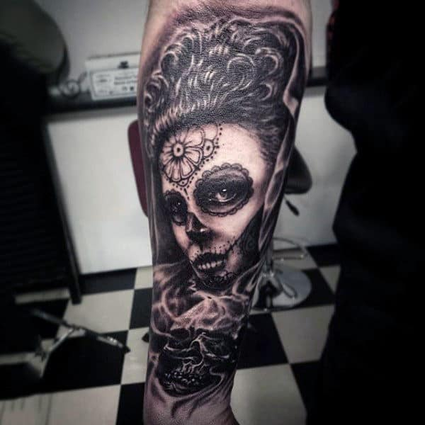 Day Of The Dead Girl With Design On Forehead And Skull Tattoo Mens Forearms