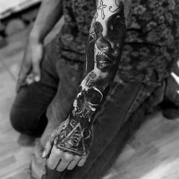 Day Of The Dead Illuminati Tattoo Male Sleeves