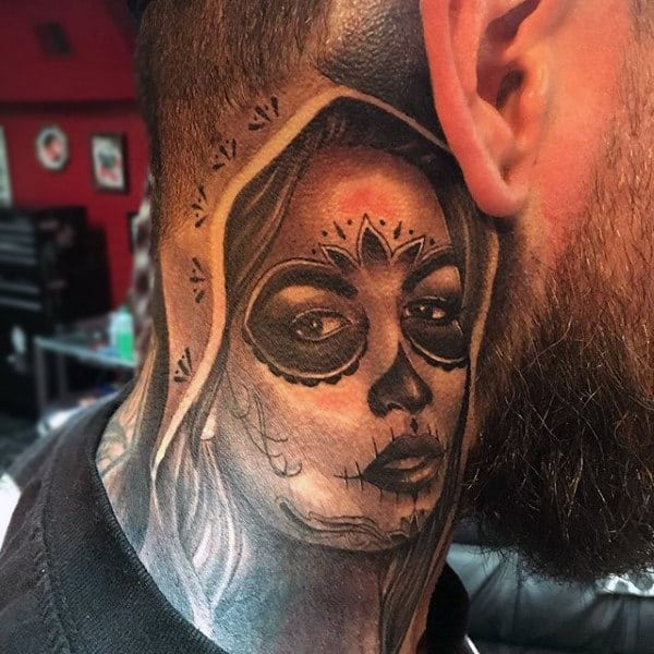 Day Of The Dead Lady With Masked Eye Mens Neck