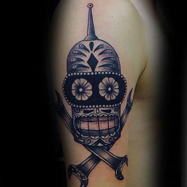 Day Of The Dead Mens Futurama Bender Robot Tattoo Design On Upper Arm