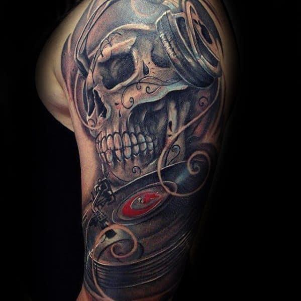 Day Of The Dead Skull Headphones Headphones Male Half Sleeve Tattoo Ideas