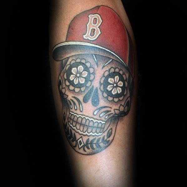 Day Of The Dead Skull With Boston Red Sox Hat Mens Forearms Tattoo Ideas