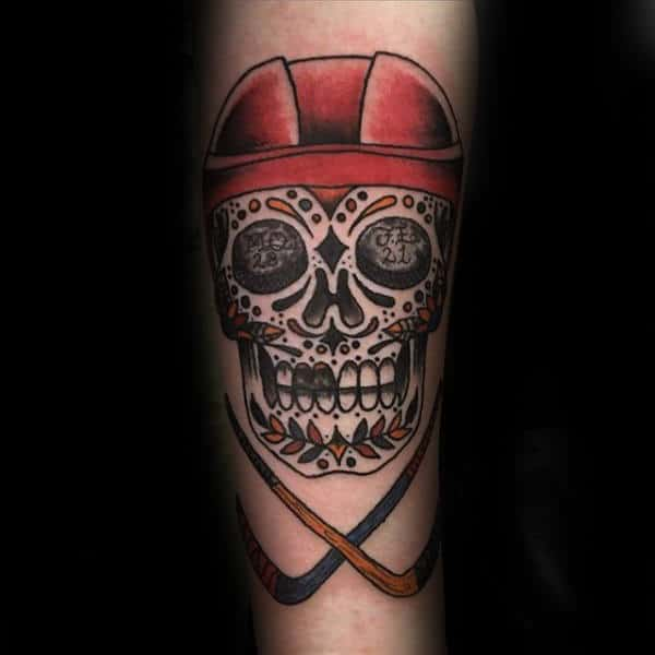 Day Of The Dead Skull With Hockey Themed Mens Tattoo On Forearm