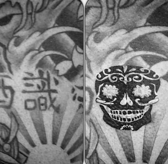 Day Of The Dead Small Skull Blast Over Tattoo On Men