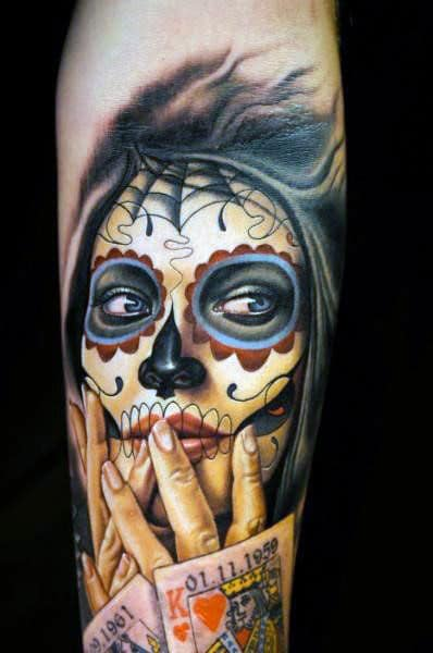 Day Of The Dead Tattoo With Realistic Hands And Playing Cards Tattoo Guys Arms