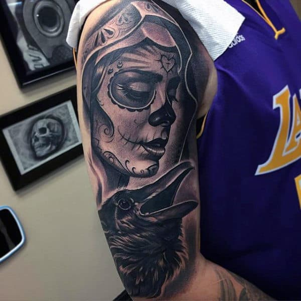Day Of The Dead Themed Black Ink Mens Half Sleeve Tattoo With Crow