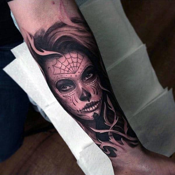 Day Of The Dead Themed Inner Forearm Male Tattoos