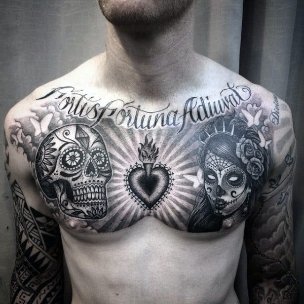 Day Of The Dead Themed Sacred Heart Guys Chest Tattoos