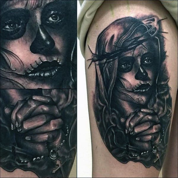 Day Of The Dead Virgin Mary Mens Upper Arm Tattoos