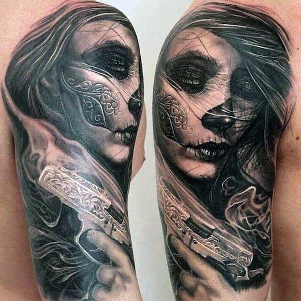 Day Of The Night Lady Tattoo With Carvings And Pistol Mens Arms