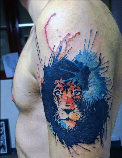 Dazzling Tiger Watercolor Tattoo On Arms For Men