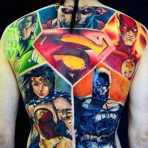 Dc Comics Mens Green Lantern Full Back Tattoos