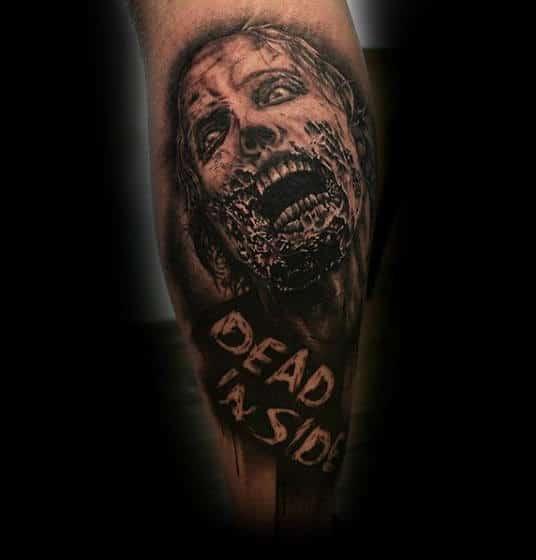 Dead Inside Guys Zombie Forearm Tattoo