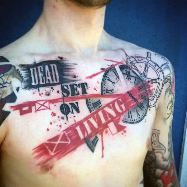 Dead Set On Living Guys Trash Polka Abstract Chest Tattoo
