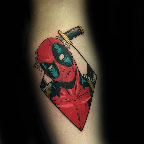 Deadpool Dagger Mens Forearm Tattoo