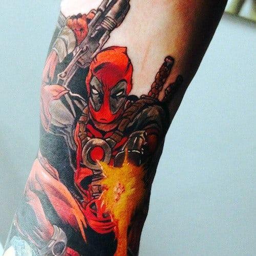 Deadpool Flames Male Arm Tattoos