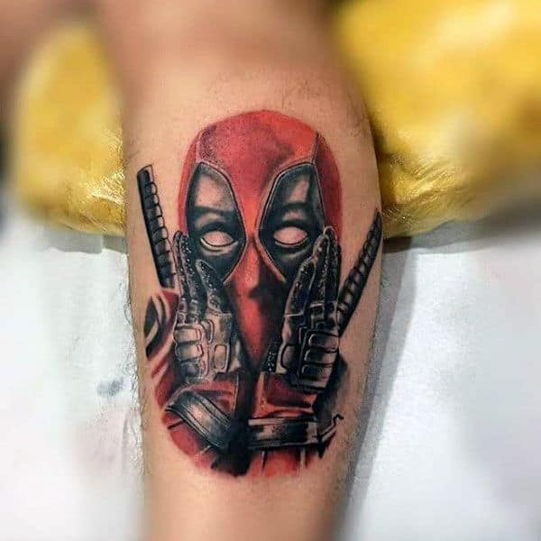 Deadpool Holding Both Hands Up To Face Male Leg Tattoo Ideas