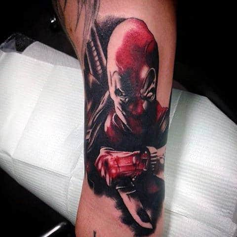 Deadpool Knife Guys Red And Black Ink Arm Tattoos