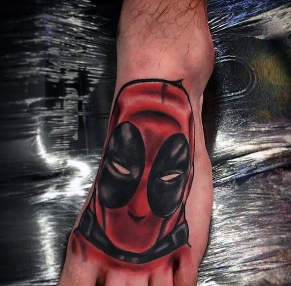 Deadpool Male Foot Tattoo Ideas