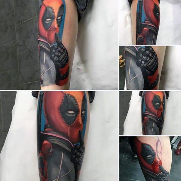 Deadpool Male Leg Tattoo