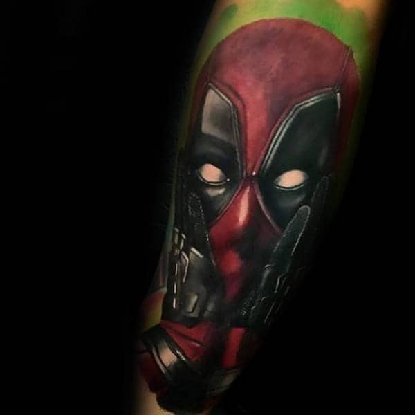 Deadpool With Green Watercolor Background Mens Forearm Sleeve Tattoo