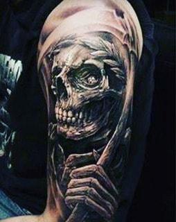 Death And Life Grim Reaper Tattoos Half Sleeve