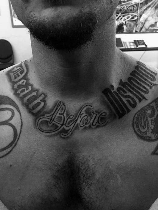 Death Before Dishonor Collarbone Tattoo Designs For Men