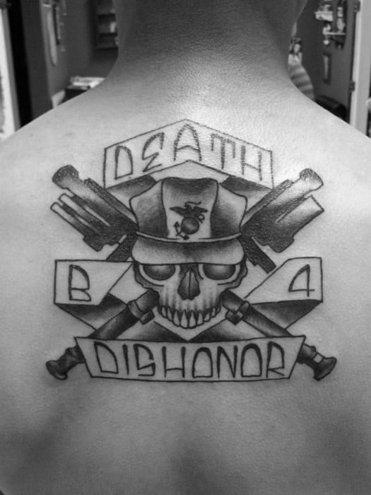 Death Before Dishonor Marines Mens Upper Back Tattoo