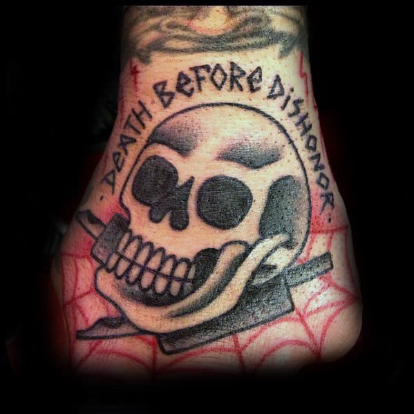Death Before Dishonor Skull Traditional Mens Hand Tattoos