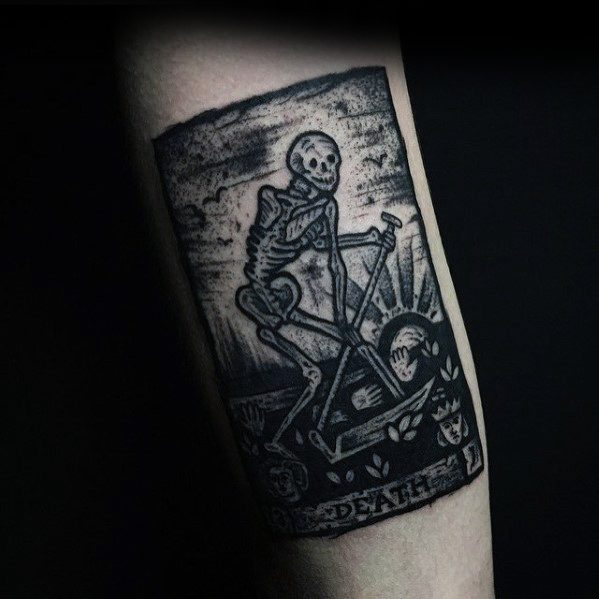 Death Card Inner Arm Bicep Male With Cool Tarot Tattoo Design
