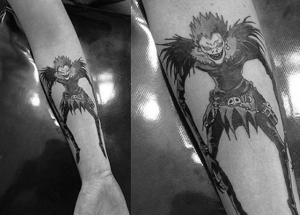 Death Note Inner Forearm Guys Tattoo Designs