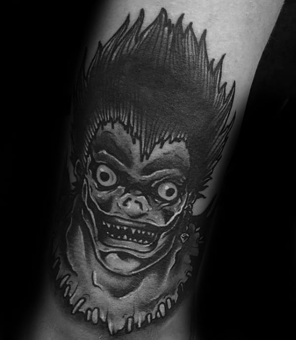 Death Note Tattoos For Gentlemen Lower Leg Shaded Black And Grey Ink