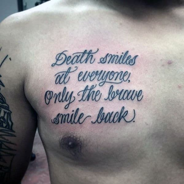 Quotes About Tattoos: 50 Chest Quote Tattoo Designs For Men