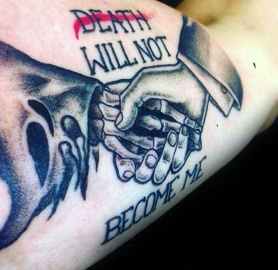 Death Will Not Become Of Me Mens Life And Death Bicep Inner Arm Tattoos