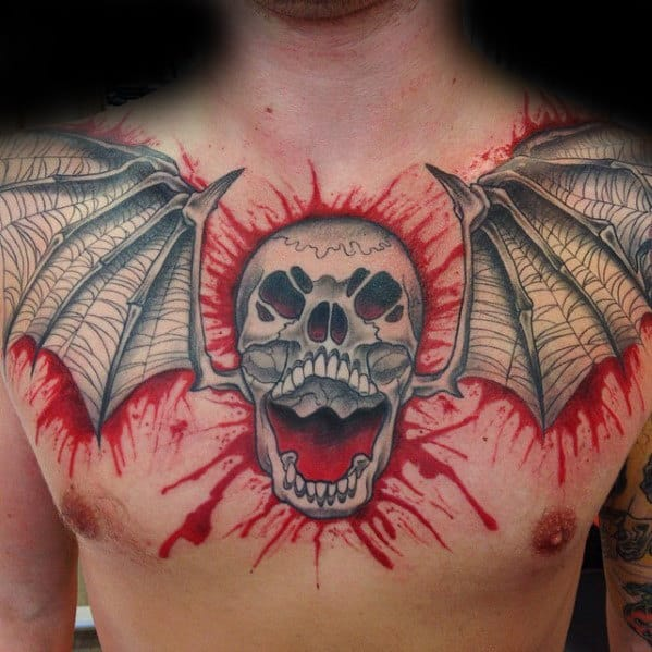 Deathbat Avenged Sevenfold Blood Paint Splatter Mens Chest Tattoo