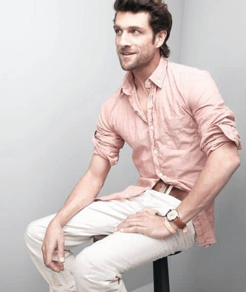 Debonair Male Casual Wear Fashion Styles Pink Dress Shirt White Pants