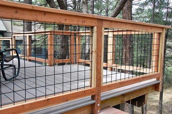 Deck Railing Backyard Design Metal Mesh And Wood