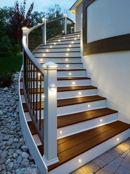 Deck Steps Ideas With Integrated Round Small Led Lighting
