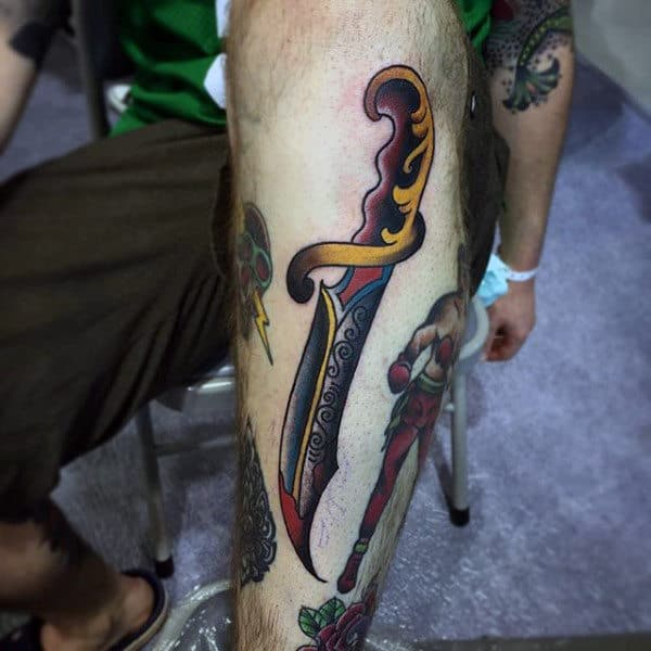 Decorated Dagger Tattoo Male Forearms